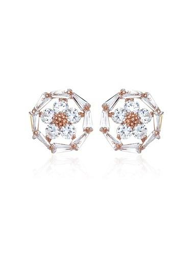 2,50 Ct Pırlanta Efekt Altın Daisy Trapes Roz Küpe-Tophills Diamond Co.